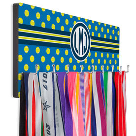 Tennis Hooked on Medals Hanger - Monogram With Ball Pattern