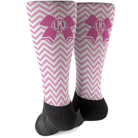 Cheerleading Printed Mid-Calf Socks - Monogrammed Cheer Bow