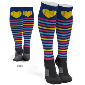 Softball Printed Knee-High Socks - Softball Heart With Stripes