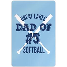 "Softball Aluminum Room Sign (18""x12"") Personalized Team Softball Dad Of"