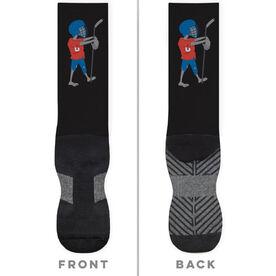 Hockey Printed Mid-Calf Socks - Zombie Hockey Player