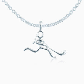 Sterling Silver Hockey Girl (Stick Figure) Necklace