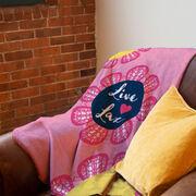 Girls Lacrosse Premium Blanket - Live Love Lax Flower