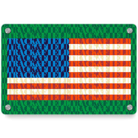 Track and Field Metal Wall Art Panel - American Flag Words