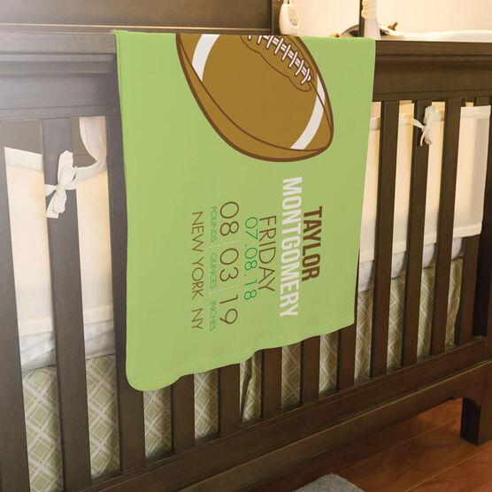Football Baby Blanket - Birth Announcement