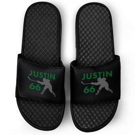 Hockey Black Slide Sandals - Personalized Hockey Shooter
