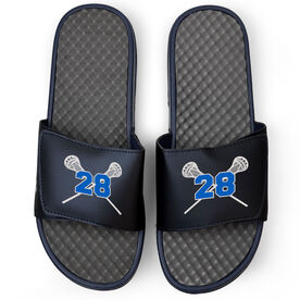 Guys Lacrosse Navy Slide Sandals - Crossed Sticks with Number