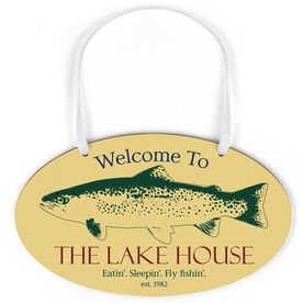 Fly Fishing Oval Sign - Welcome To With Fish
