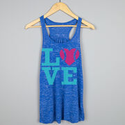 Softball Flowy Racerback Tank Top - LOVE Softball Pink Teal