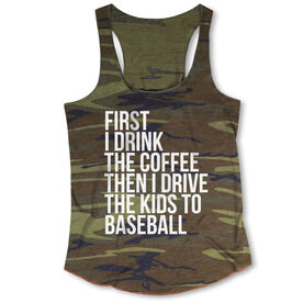 Baseball Camouflage Racerback Tank Top - Then I Drive The Kids To Baseball