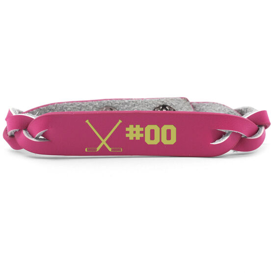 Hockey Leather Engraved Bracelet Crossed Sticks with Number
