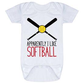 Softball Baby One-Piece - Apparently, I Like Softball