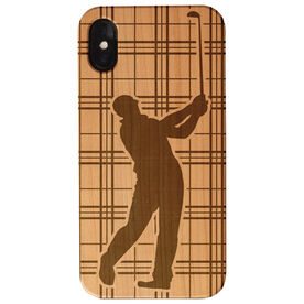 Golf Engraved Wood IPhone® Case - Male Plaid Player