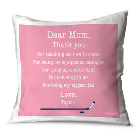Hockey Throw Pillow Personalized Dear Mom Thank You