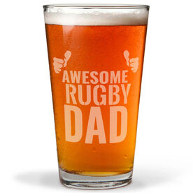 16 oz. Beer Pint Glass Awesome Rugby Dad