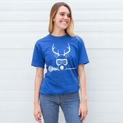 Girls Lacrosse Short Sleeve T-Shirt - Lax Girl Reindeer