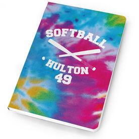 Softball Notebook Tie Dye Pattern With Bats