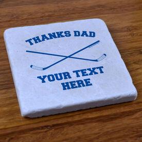 Personalized Thanks Dad Hockey - Stone Coaster