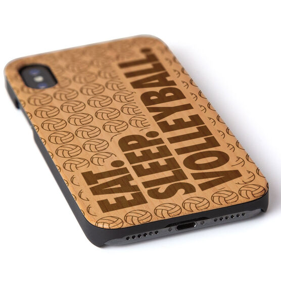 Volleyball Engraved Wood IPhone® Case - Eat. Sleep. Volleyball.