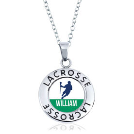 Guys Lacrosse Circle Necklace - Player Silhouette With Name