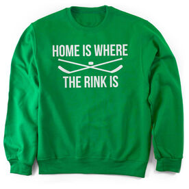 Hockey Crew Neck Sweatshirt - Home Is Where The Rink Is