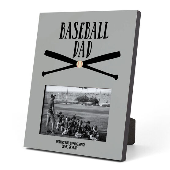 Baseball Photo Frame - Baseball Dad With Crossed Bats