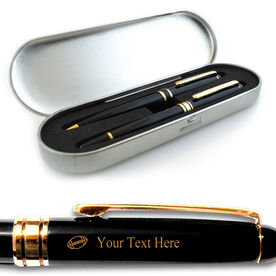 Engraved Football Black Roller Pen and Ball Point Pen Set