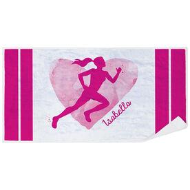 Cross Country Premium Beach Towel - Watercolor Heart Girl