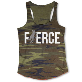 Field Hockey Camouflage Racerback Tank Top - Fierce Field Hockey Girl with Silver Glitter