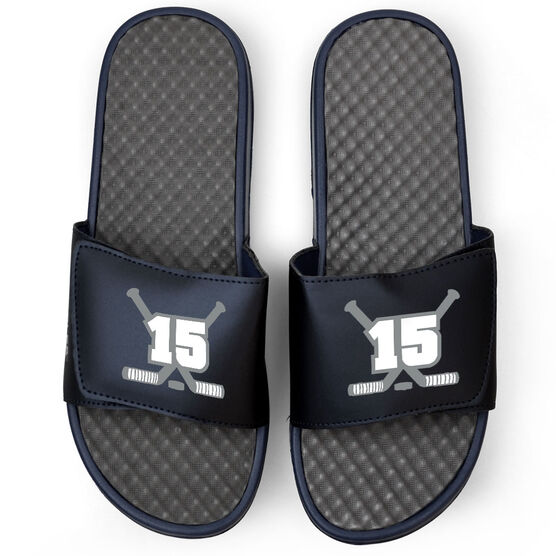 Hockey Navy Slide Sandals - Hockey Crossed Sticks with Number