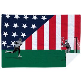 Guys Lacrosse Premium Blanket - Go for the Goal Patriotic