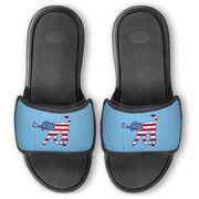 Girls Lacrosse Repwell® Slide Sandals - Patriotic Lula the Lax Dog