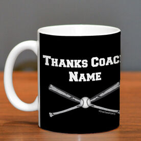 Baseball Coffee Mug Thanks Coach Crossed Bats With Team Roster