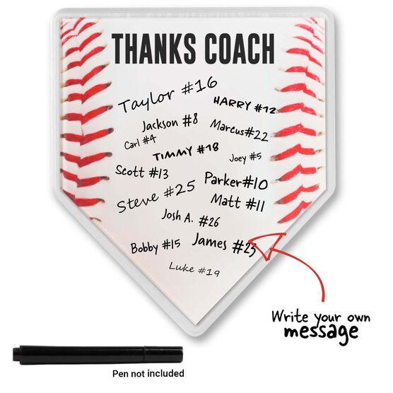 Premier Wooden Baseball Home Plate Plaque - Thanks Coach