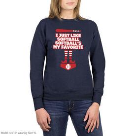 Softball Crew Neck Sweatshirt - Softball's My Favorite