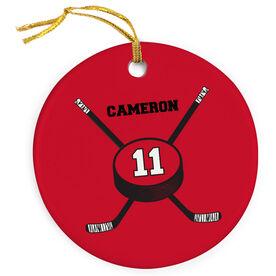 Hockey Porcelain Ornament Crossed Sticks Personalized