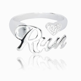 Run Sterling Silver Ring with Cubic Zirconia Stones