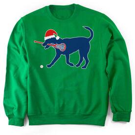 Girls Lacrosse Crew Neck Sweatshirt Christmas Dog