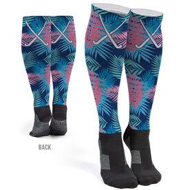 Field Hockey Printed Knee-High Socks - Tropical Palm Pattern