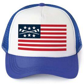 Crew Trucker Hat - American Flag with Oars