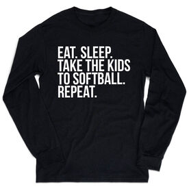 Softball Tshirt Long Sleeve - Eat Sleep Take The Kids To Softball