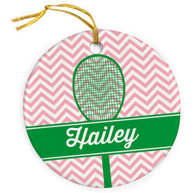 Tennis Porcelain Ornament Personalized Racket with Chevron