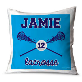 Girls Lacrosse Throw Pillow Personalized Lacrosse Sticks And Ball Girl