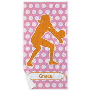 Volleyball Premium Beach Towel - Personalized Silhouette with Volleyball Background