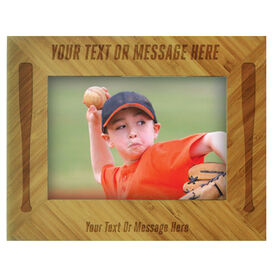 Baseball Bamboo Engraved Picture Frame Your Text