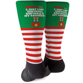 Softball Printed Mid-Calf Socks - Softball's My Favorite