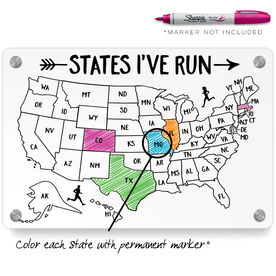Running Metal Wall Art Panel - States I've Run Outline
