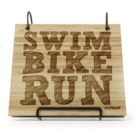 Engraved Bamboo Wood BibFOLIO® Race Bib Album - Swim Bike Run (Stacked)