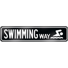 "Swimming Aluminum Room Sign Swimming Way (4""x18"")"