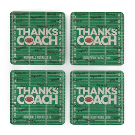 Football Stone Coasters Set of Four - Coach (Autograph)